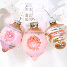 Pink+Christmas+Ornaments+Vintage+Shiny+Brite+by+RibbonsAndRetro