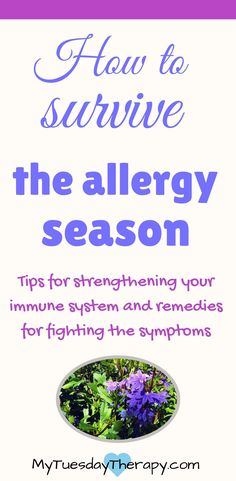 Strengthen your immune system and fight the allergy symptoms with these natural allergy remedies. #allergies #naturalremedies #adrenalfatigue #immunesystem via @www.pinterest.com/mytuestherapy