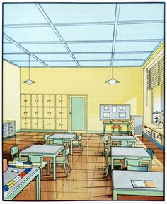 """1930′s Interior Architecture Illustrations - """"Scans from The function of colour in factories, schools & hospitals; 1930″"""