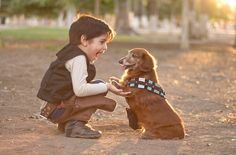 Daaaaaw: Little Han Solo And His Dachshund Chewbacca