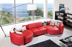 Divani Casa Modern Leather Sectional Sofa Sofaupholstered In High Quality Leatherincludes Dual Round Chaise Endsfeatures A Built