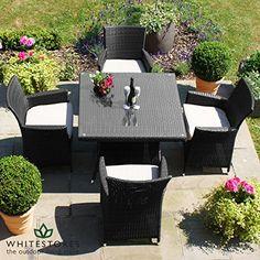 Maze Rattan Outdoor Garden Furniture Baby LA 4 Seat 90cm Square Table Rattan Dining Set