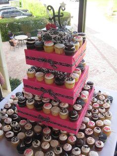 Elegant Modern Spring Summer Black Pink White Cupcakes Square Wedding Cakes Photos & Pictures - WeddingWire.com