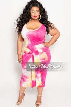 9f6ee75bce4 Final Sale Plus Size 2-Piece Sleeveless Crop Top and Pencil Skirt Set with Attached  Tie in Pink and Yellow Tie Dye Print