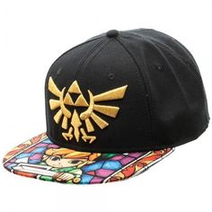Nintendo legend of zelda triforce stained glass sublimated bill hat  snapback cap 034cfe6bd9753
