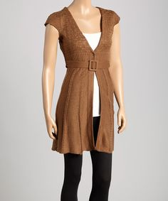 Another great find on #zulily! Brown Belted Cap-Sleeve Duster #zulilyfinds
