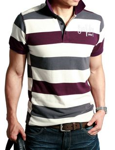 Cool Slim Fitted Cross-Cut Stripe Printed Pique Polo Shirt For Men
