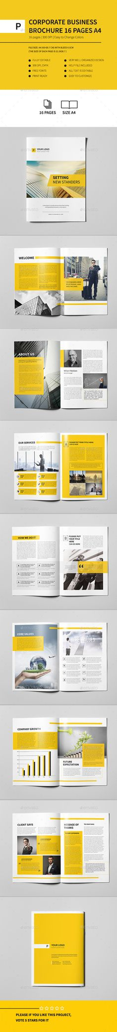 Corporate Business Brochure 16 pages A4 Template #design Download: http://graphicriver.net/item/corporate-business-brochure-16-pages-a4/12391048?ref=ksioks
