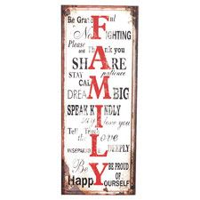 'Family' Metal Wall Plaque