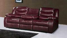 Gramercy Burgundy Leather Reclining Sofa