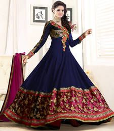 Buy Blue embroidered Georgette semi stitched salwar with dupatta party-wear-salwar-kameez online