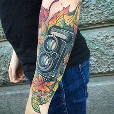 Rolleiflex by @filthyswede at Kryptonite Tattoo in Gothenburg Sweden. #rollei #rolleiflex #camera #photography #photographytattoo #filthyswede #kryptonitetattoo #gothenburg #sweden #tattoo #tattoos #tattoosnob