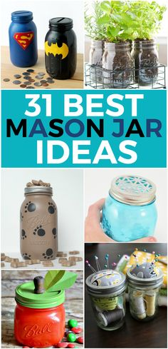 There is so much that you can do with mason jars! From drinking to home decor to storage and organization, they are just so versatile! I have so many favorites that it was hard to narrow them down, but here are the very best DIY mason jar ideas. 31 Best DIY Mason Jar Ideas   Distress mason jars to make this gorgeous bathroom storage set. via Mason Jar Crafts Love Make your own herb garden right inside your house. via Crafts Unleashed I adore this organizing hack, so simple yet so versatile…