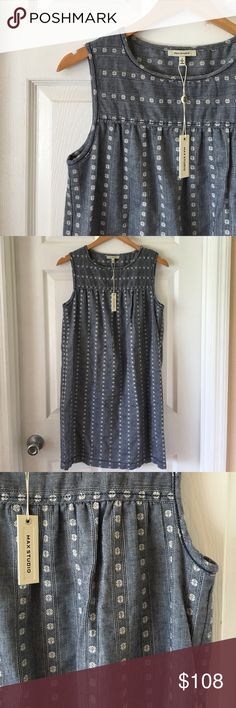 Lovely Max Studio Shift Dress So lovely and so comfy! You'll want to wear this every day! Gray cotton dress with white and navy blue design. Not your boring old dress--this has such a simple lovely look. Fabric: 100% Cotton Item #01614 Max Studio Dresses Midi