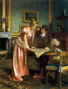 Planning the Grand Tour. Emil Brack (German, By the middle of the century, railroads were changing the Grand Tour. The Englishman Thomas Cook offered the first packaged tours and. Victorian Paintings, Victorian Art, Regency Fashion, Art Ancien, Romantic Scenes, Grand Tour, Fine Art, Historical Romance, Jane Austen