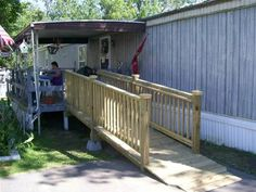 Custom made iron ada handicapped ramp railing with wrought for Handicap mobile homes