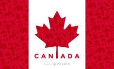 This design shows the Canada flag among typical canadian elements. It also says Canada. Perfect design for brochures, posters and more. Canada Leaf, Wood Craft Patterns, Material Design Background, Famous Logos, Flag Logo, Travel Design, Flag Design, Layout Template, Design Show