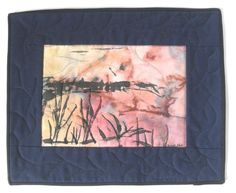 Miniature hand painted  Wall  Quilt Landscape  by quiltartfabric