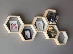 Custom colors available. Geometric Hexagon Shelves Mid Century Wood Shelves Wall. https://www.etsy.com/listing/528010664/geometric-hexagon-shelves-mid-century?ref=similar_items-15