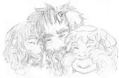 Bofur, Bifur, Bombur. Oh my gosh how sweet! So much family love in this picture. <3 (Artist: wakeupt on Tumblr.)