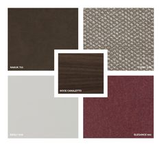 Wood: Canaletto walnut Leather: Nabuk 703 Fabrics: Tivoli 1035, Eboli 1039, Elegance 942 Moodboard Inspiration, Fabrics, Shades, Display, Texture, Elegant, Wood, Leather, Classy
