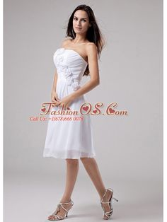 Hand Made Flowers Chiffon A-Line Strapless Knee-length Prom Dress White  http://www.fashionos.com  Everyone love long, flowing dresses with soft feelings. They are a great choice for any body style and are always in trends. This dress is a perfect combination of all kinds of dress with hand made flowers, which gives you a sense of charming and gorgeous. The silhouette is full of simplicity. A ruched back completes this design.