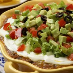 ❤Southwestern Layered Bean Dip/ Nix the Sour Cream, & use Healthy Greek Yoghurt instead.
