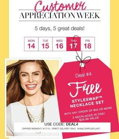 Today only! Super cute necklace for free with a $50 order! Score!