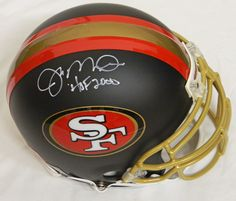 Joe Montana Signed San Francisco 49ers Custom Black Matted Authentic Pro Helmet w/HOF 2000 - Schwartz COA