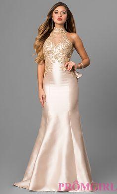 2a306540384 Long V-Neck Prom Dress with Embroidered Bodice