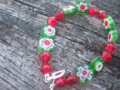 Milefori bracelet, red and green,  glass beads and flowers. $14.00, via Etsy.