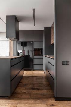 Modern Kitchen Interior Design That You Have To Try 41 Modern Grey Kitchen, Stylish Kitchen, Modern Kitchen Design, Interior Design Kitchen, Minimalistic Kitchen, Interior Design Examples, Interior Design Inspiration, Kitchen Inspiration, Apartment Kitchen