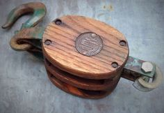 Vintage Double Wood Pulley Block and Tackle.     Misinterpreted on Etsy