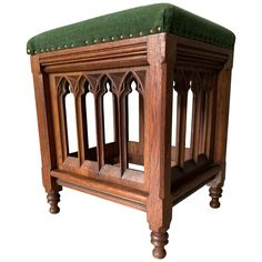 Unique And Quality Carved Gothic Revival Oak Church Stool With Velvet Seating Candle Chandelier, Candle Lamp, Gothic Chair, Church Candles, Church Windows, Solid Oak, Modern Furniture, Furniture Projects, Stool