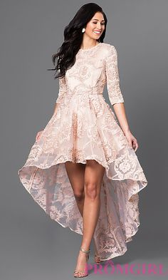 Image of high-low lace party dress with three-quarter sleeves. Style: CQ-5779DW Front Image