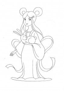 Mid Autumn Festival Moon Goddess Coloring Page