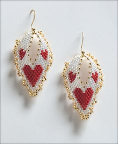 Hearts Russian Leaf Earrings by Barbara Henthorn at Bead-Patterns.com