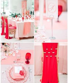 Gorgeous Coral & Blush #Tablescape #Decor #Gold #Chivari #Wedding #Inspiration
