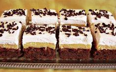 Retete Culinare - Prajitura cu blat ciocolatos si budinca de vanilie