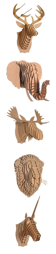 Create your own animal bust with this DIY - Amazing Interior Design Cardboard Crafts, Paper Crafts, Diy And Crafts, Arts And Crafts, Ideias Diy, Art Textile, 3d Models, Unique Wall Art, Animal Heads