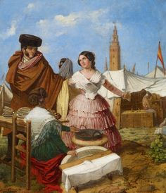 size: Giclee Print: Courting at a Ring-Shaped Pastry Stall at the Seville Fair by Rafael Benjumea : Entertainment Romantic Paintings, Twelfth Night, Spanish Artists, Historical Costume, Western Art, Seville, Art Boards, Framed Artwork, Find Art