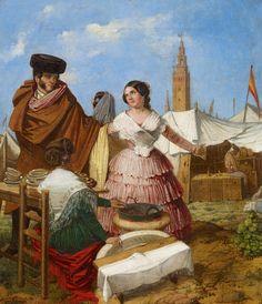 Rafael Benjumea. 'Galanteo en un puesto de rosquillas de la Feria de Sevilla', 1852