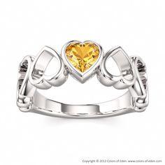 Heart Ring Valentine #citrine #silver #November #birthstone