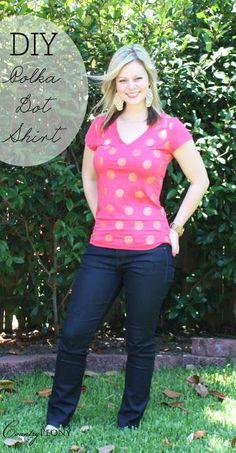 DIY Polka Dots : DIY: Polka Dot  Shirt  : DIY Clothes DIY Refashion