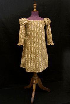 Ca 1820, Regency clothing at Vintage Textile:#c440 Roller print child's dress,
