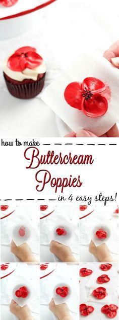 How to Make Buttercream Poppy Flowers in 4 Easy Steps | The Bearfoot Baker #cakedecoratingtechniques