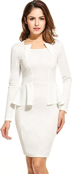 ANGVNS Dress, White, Large at Amazon Women's Clothing store: Miss Louisiana, Work Outfits, Cute Outfits, Thing 1, Fashion Brands, Peplum Dress, Topshop, White Dress, Zipper