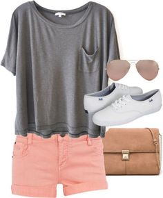150 pretty casual shorts summer outfit combinations - Outfits I like for my body type - Summer Shorts Outfits, Komplette Outfits, Short Outfits, Casual Outfits, Casual Shorts, Pink Shorts Outfit, Keds Outfit Summer, Colored Shorts Outfits, Peach Shorts