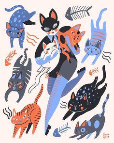 3,171 отметок «Нравится», 23 комментариев — Sara Barnes (@brwnpaperbag) в Instagram: «All the cats, plz. Happy #Caturday, ya'll. #Illustration by @sonialazo  . . . . #illustration…»