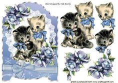 vintage kitties with blue roses on lace with bow on Craftsuprint - Add To Basket!